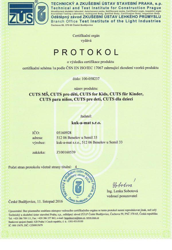Certifikační protokol pre hlavolamy Cuts pre deti osvedčujúci ČSN EN 71-1 pre bezpečnosť hračiek. | Cuts-hlavolam.sk